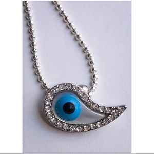 Forever 21 Necklace Evil Eye Crystals Faux MOP